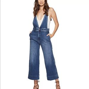 Free People A-Line Wide Leg Denim Overalls Size 12